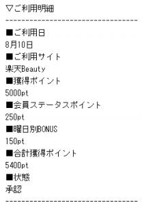 201609楽天ビューティ ポイント確定