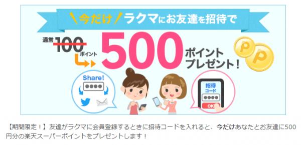 ラクマ友達紹介キャンペーン
