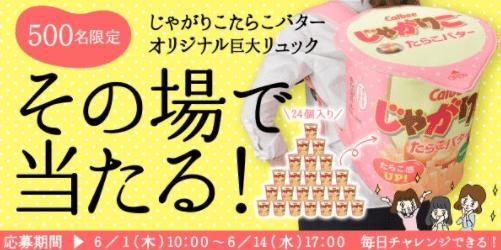 じゃがりこたらこバターオリジナル巨大リュックプレゼントキャンペーン