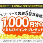 【先着50万名!!】エントリーで1,000円分のぐるなびポイントプレゼント!キャンペーン