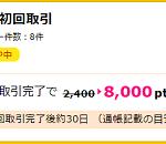 【超お得!!】auカブコム証券の新規口座開設で8000円相当ポイントGET!
